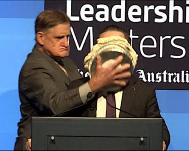 Qantas CEO pied by protestor over support for marriage equality