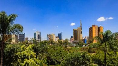 Nairobi, Kenya - View over park to downtown area