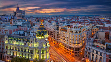 Cityscape image of Madrid, Spain during sunset