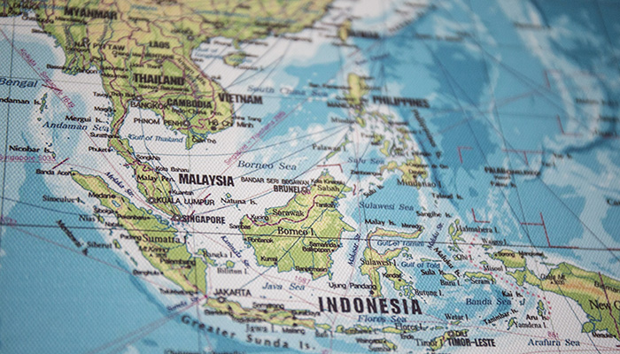 View of map, focus on South East Asia