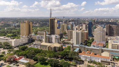View of the downtown area of the city of Nairobi, Kenya