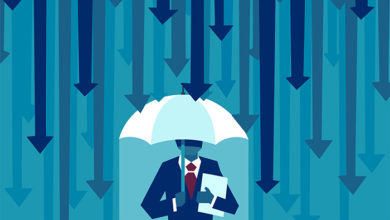 Risk averse. Vector of a businessman with umbrella resisting protecting himself from falling arrows as a symbol of unfavorable business environment