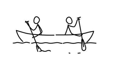 Illustration of two men in a boat. Vector. Each team in their own way. Conflict of interest. Metaphor. Contour picture. Leader race. Ambitions bosses.