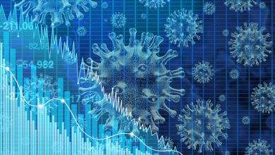 Economy and health care as an economic pandemic fear and coronavirus fears or virus Outbreak and Stock market selling as a stock financial recession concept with 3D illustration elements.