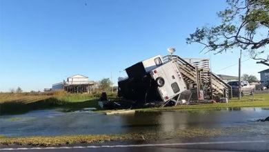 Damage caused by Hurricane Zeta on the Louisiana coast. Credit: Accuweather/Screenshot