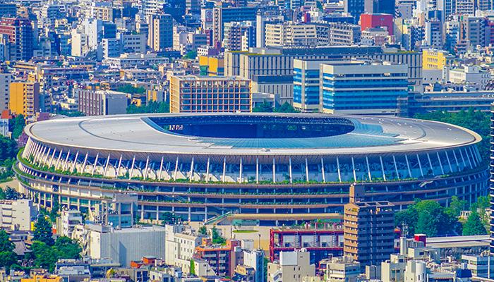 New National Stadium and the Tokyo skyline. Shooting Location: Tokyo metropolitan area