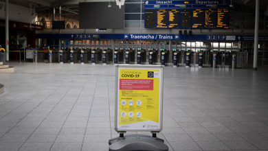 Dublin, Ireland - April 6, 2020: Covid-19 information signage in the empty departures hall of Connolly Station, normally the busiest railway station in Ireland.