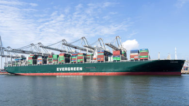 MAASVLAKTE, THE NETHERLANDS - JULY 5, 2019: EVER GIVEN moored at ECT Delta terminal. Evergreen headquartered in Taiwan is a global containerized-freight shipping company.