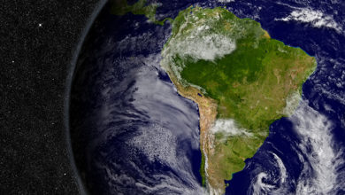 South America region on planet Earth from space with stars in the background. Elements of this image furnished by NASA.