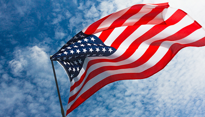 USA flag background. American symbol of fourth of July Independence Day, democracy and patriotism
