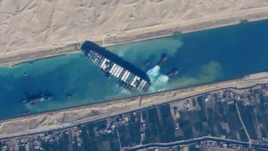 The containership Ever Given stuck in the Suez Canal in Egypt, viewed from the International Space Station. Credit: NASA JSC ISS image library