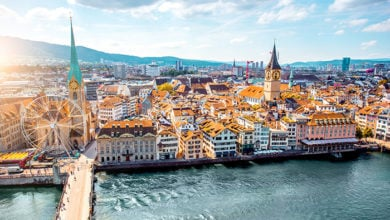 Aerial panoramic cityscape view on the old town of Zurich city in Switzerland