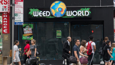 New York City, Circa 2019: Weed world cannabis dispensary in midtown Manhattan to purchase marijuana products with medicinal card or recreational use, regulated by US government