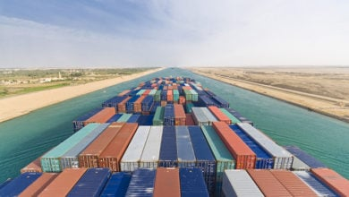 Large container vessel ship passing Suez Canal