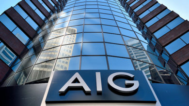 NEW YORK, USA - JUNE 6, 2016: American International Group office in downtown New York City. AIG was bailed out by the United States Government in the amount of 180 Billion dollars in 2008.