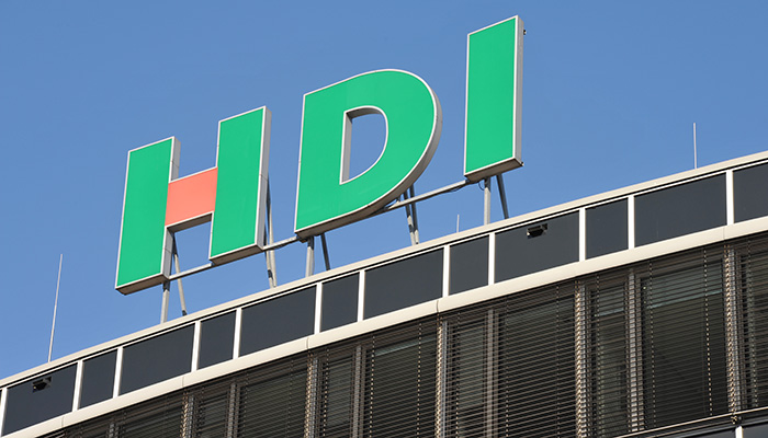 Hamburg / Germany - October 14, 2018: Logo of HDI in Hamburg, Germany - HDI Global SE is one of the leading insurers - HDI is a part of Talanx Group