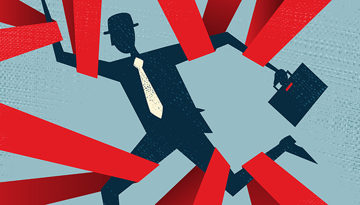 Abstract Businessman caught in Red Tape. Vector illustration of Retro styled Abstract Businessman caught up in bureaucratic red tape.