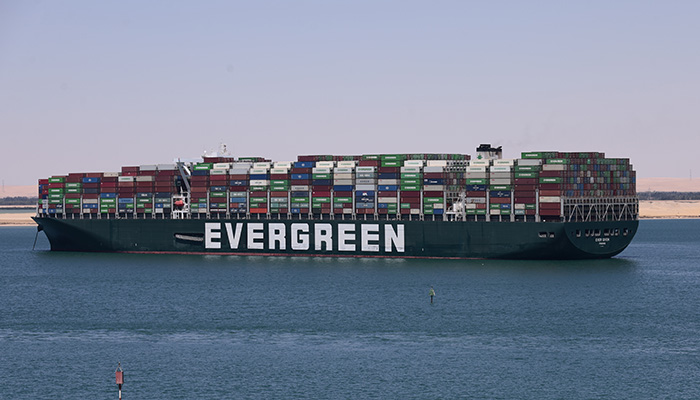 SUEZ CANAL, EGYPT 14 may 2021, Contrainer ship Ever Given at anchor, the supercontainer still detained after the incident