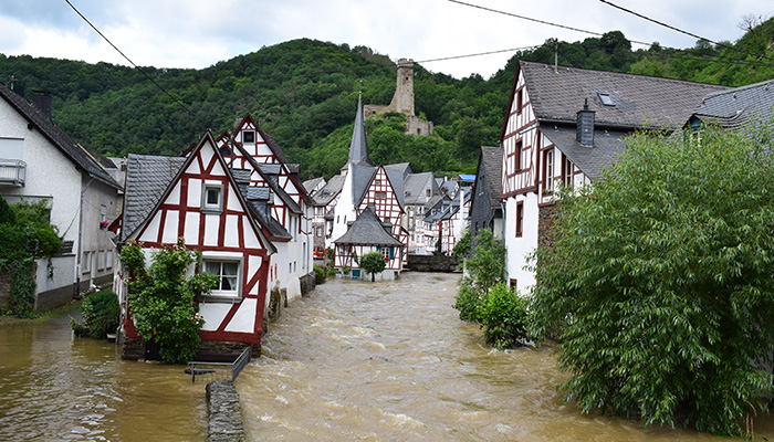 Monreal, Germany - 07 15 2021: Huge flood of the Elz river in Monreal, Eifel