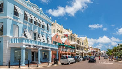 HAMILTON, BERMUDA - July 12, 2017: Bermuda has a blend of British and American culture, which can be found in the capital, Hamilton. Its Royal Naval Dockyard combines modern attractions with history.