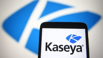 KYIV, UKRAINE - JULY 06, 2021: In this photo illustration Kaseya Limited logo of an American software company is seen on a mobile phone screen.