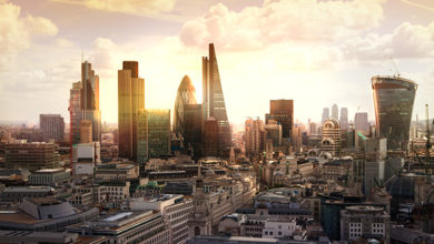 London,Sunset.,View,On,Business,Modern,District