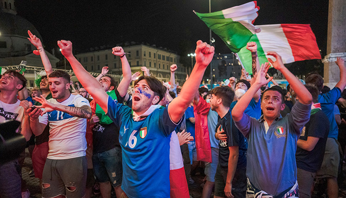 ROME, ITALY. Italian fans celebrate Italy's victory