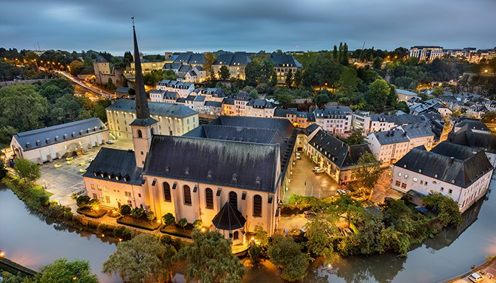 Luxembourg City Old Town skyline taken at dawn