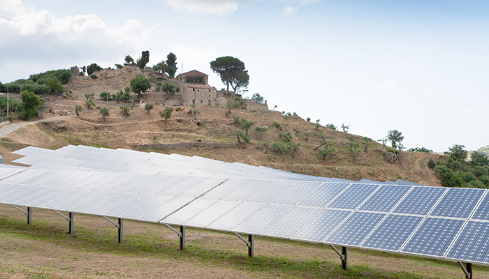 solar battery plant in country, Sicily, Italy