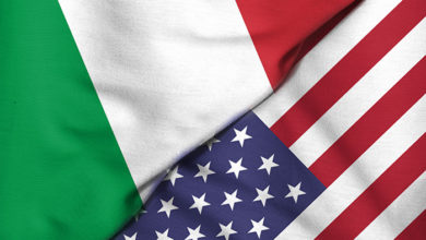Two,Flags.,3d.,Usa,And,Italy