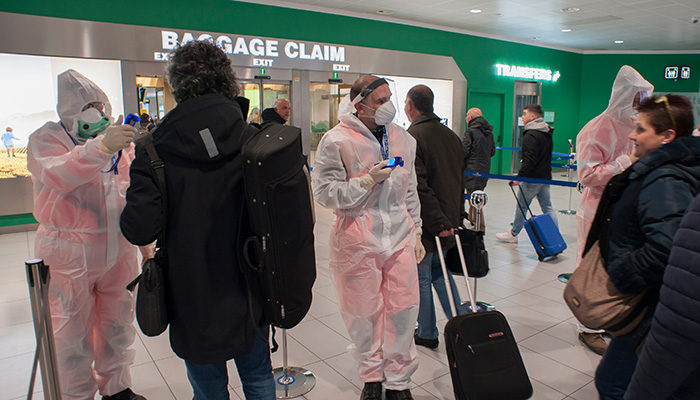 Bologna, Italy - February 13 2020: temperature screenings started at the airport arrivals to avoid coronavirus entry.