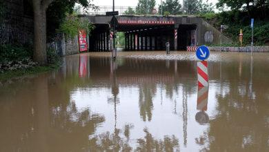Düsseldorf, Germany - 15 July 2021: Extreme weather - flooded street zone in Düsseldorf, Germany