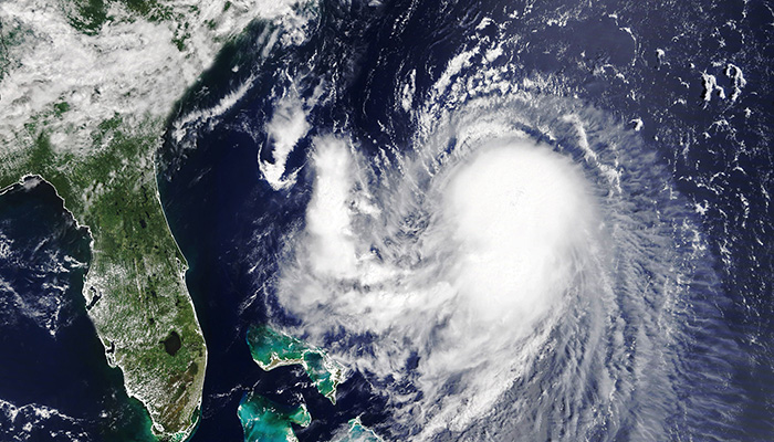 Hurricane Henri is approaching the coast USA. The eye of the typhoon. Severe tropical storm. Satellite view Some elements of this image furnished by NASA