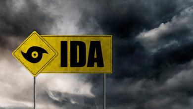 Hurricane Ida banner with storm clouds background. Hurricane alert. 3D illustration.