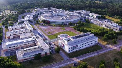 Basovizza, Italy - June 10, 2017: Aerial view of Italian Electron Synchrotron Research Center, Trieste