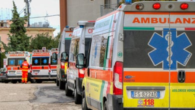 Italian ambulance parked in front of the emergency room in the hospital in Puglia, Italy - 11.01.2021