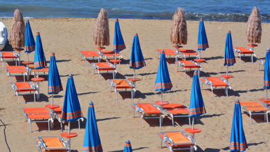 Termoli, Molise, Italy -06-02-2020 - Prevention rules for social distancing in bathhouse on a sandy beach.