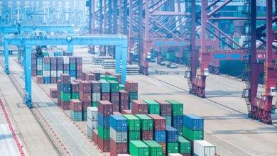 closeup of container terminal, port of ningbo zhoushan