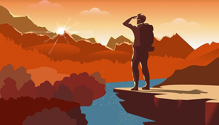 Traveller or explorer with backpack, standing on top of mountain or cliff and looking on valley. Vector illustration of adventure tourism and travel, discovery, exploration, hiking.