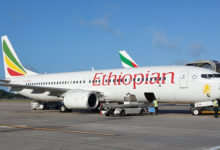 MAHE, SEYCHELLES -17 JULY 2015- A Boeing 737 from Ethiopian Airlines (ET) is parked at the Aeroport de la Pointe Larue, or Seychelles International Airport (SEZ), located on the island of Mahe.