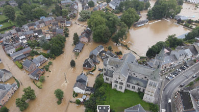 ROCHEFORT, BELGIUM - JULY 13, 2021: Drone view of some streets and houses heavily damaged from the historic floods in Rochefort, Belgium in July 2021