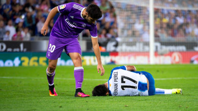 BARCELONA - SEP 18: Marco Asensio plays at the La Liga match between RCD Espanyol and Real Madrid CF at RCDE Stadium on September 18, 2016 in Barcelona, Spain.