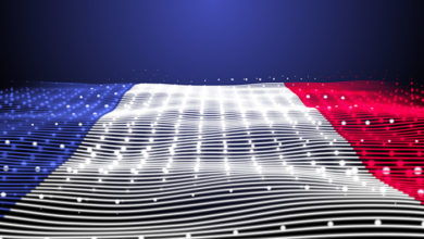 3d rendered Abstract Glowing particles digital abstract lines flag of France texture 8K Illustration background