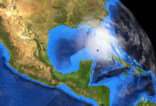 Hurricane Ida approaching the Gulf of Mexico. Extremely detailed and realistic high resolution 3d image showing the Earth from space. Elements of this image have been furnished by NASA