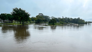 Houston, TX, US - September 14, 2021: Armand Bayou partially floods Bay Area Park during Hurricane Nicholas in Houston Texas.
