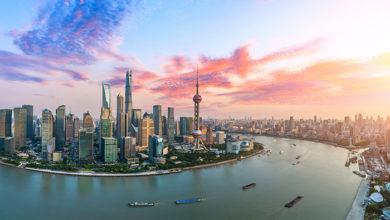Aerial,View,Of,Shanghai,Skyline,At,Sunset,china.