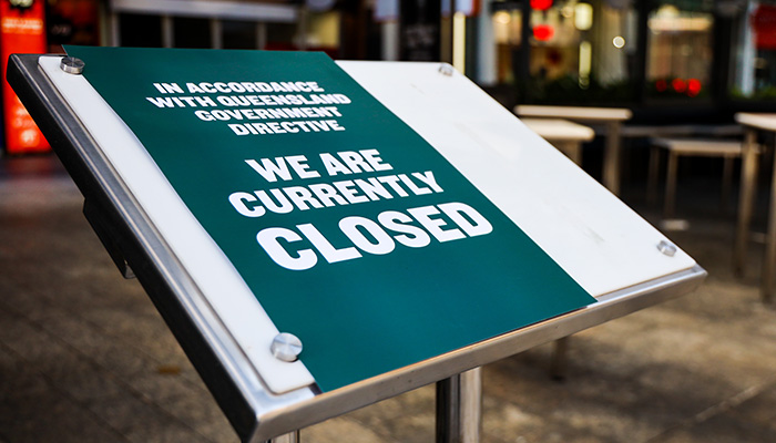Brisbane, Queensland Australia: 03 31 2021: Stores closed in Brisbane during lockdown