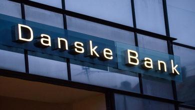 20.02.2019. RIGA, LATVIA. Logo of Danske Bank in Riga city. Danske Bank it is the largest bank in Denmark