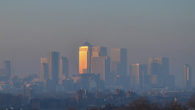 Greenwich, London - January 2017 - Heavy pollution sits over London's skyline between 21-24 January.