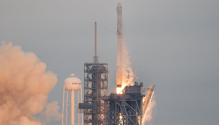 Kennedy Space Center, Florida - February 19, 2017: A SpaceX rocket launches on the CRS-10 resupply mission to the International Space Station.